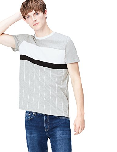Amazon-Marke: find. Herren T-Shirt Vertical Stripe Alia, Grau (Grey Marl), S, Label: S