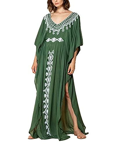 Hoperay Women Cover Ups for Swimsuit Half Sleeve, V Neck Green Kaftans Ethnic Embroidered Side High Split Beach Dresses Loungewear