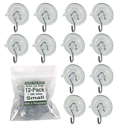 12-Pak (Small 1 1/8 inch) Pennsylvania Heavy Duty Suction Cup Hooks for Glass Windows-Comes in 5 Sizes (Made in Pennsylvania) for-Signs, Holiday Ornaments, Suncatchers, Stained Glass, and Decorations