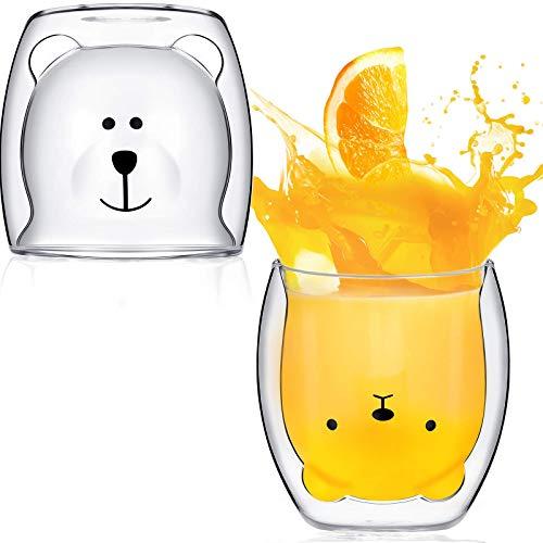 2 tazas de té con diseño de oso de doble pared, tazas de cristal con diseño de oso para parejas, tazas de café con aislamiento para leche, cerveza, vino, cóctel, Navidad, día de San Valentín