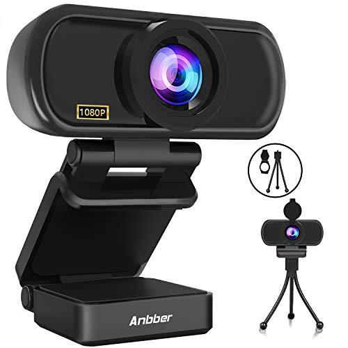 Anbber 1080P HD Webcam mit Mikrofon für PC/Computer Objektivdeckel, Streaming Webkamera mit Autofokus, Skype, Video Chat und Aufnahme, Schwarz