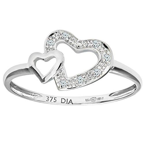 Revoni - Anello a cuore in oro bianco 9 kt con diamanti