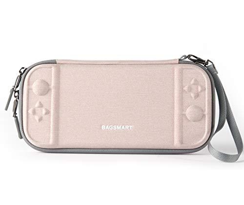 bagsmart Slim Tasche für Nintendo Switch, Dünn Aufbewahrung Case Hartschale Tragetasche mit 10 Spiele Fäche Rosa