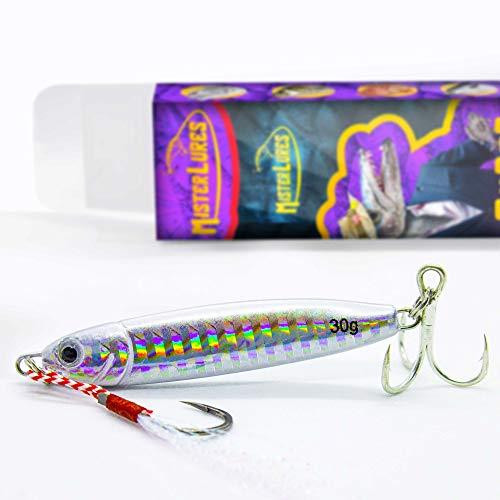 MISTERLURES - 1 Señuelo de Pesca mar jigs 30g. 5 Modelos a Elegir. Jig Slow Jigging, Spinning o rockfishing. Señuelos Muy eficaces para Pescar lubinas, Barracudas, jureles, etc.