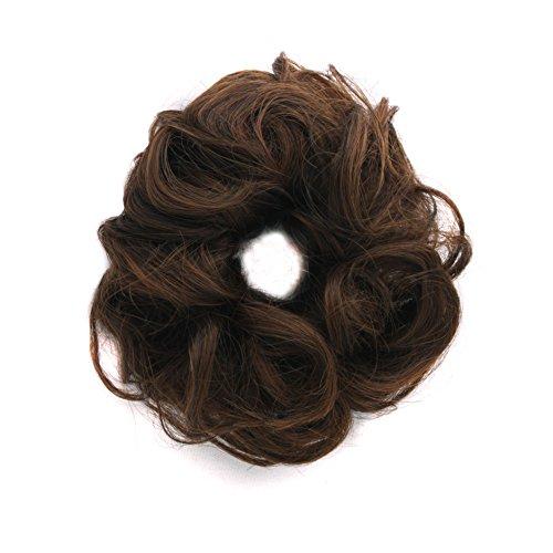MapofBeauty 6 Pouce/15cm Caoutchouc Bande Cheveux Circle Bouclé perruque (Brun)