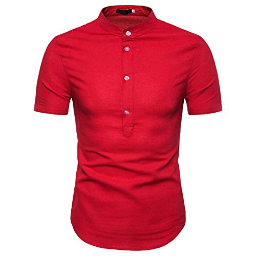 Men Polo Shirt Basic Stretch Solid Color Men Shirt Breathable Button Placket Stand-Up Collar Short-Sleeved Men Leisure Shirt Summer Fashion Urban Business Men T-Shirt B-Red S