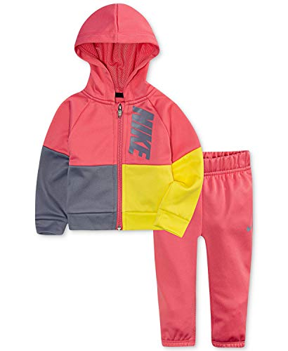 Nike Baby Mädchen Trikot Trainingsanzug 2-teiliges Outfit Set, Mädchen, Rosa Nebel (16d728-a5k)/Gelb, 4 Jahre