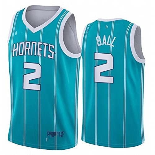 AGLT 2021 NBA Hombre Basketball Jersey,Hornets n#2 n#4 Ropa de Baloncesto,Camisetas Al Aire Libre Casual Mujer Redondo CháNdales,Blue2,S