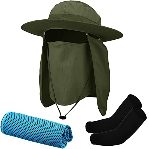 Fishing Hat Unisex Wide Brim Cap with Arm Sleeve, Ice Towel (Green, Black, Blue)