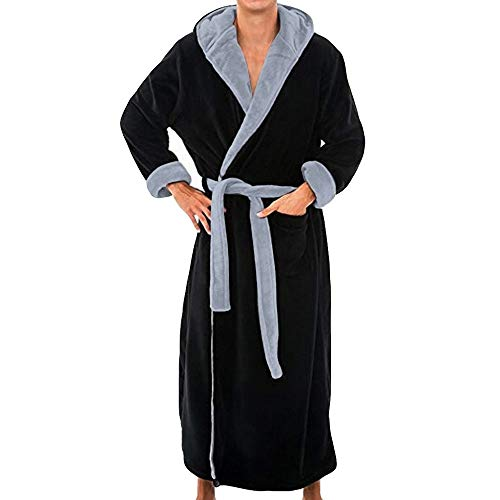 Albornoz de mantón de Felpa de Invierno para Hombres Ropa de casa Abrigo de túnica de Manga Larga Bata con Capucha Tallas Grandes Albornoz de Color sólido para Hombre (3XL, Negro)