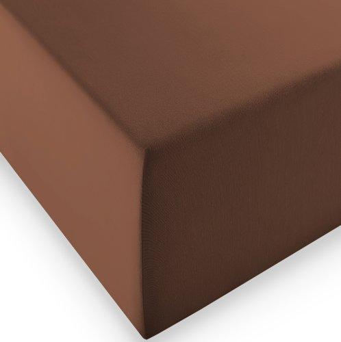 sleepling Komfort Jersey-Elastic Stretch Spannbettuch Spannbettlaken für Matratzen bis 30 cm Höhe (215 gr. / m²) mit 3% Elastan 180 x 200-200 x 220 cm, braun