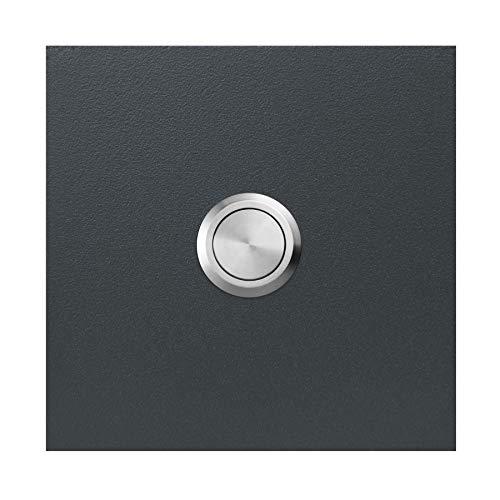 Qualitäts-Klingel anthrazit-grau (RAL 7016) MOCAVI Ring 500 V4A-Edelstahl Klingel-Taster, quadratisch (8,5 cm), modern, matt, deutsche Markenqualität