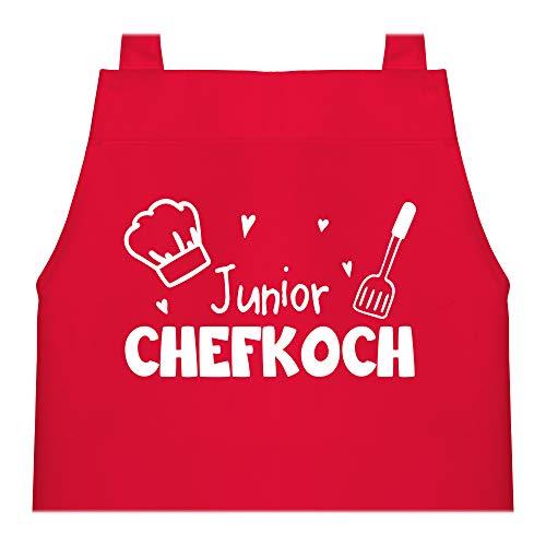 Shirtracer Kinderschürze mit Motiv - Junior Chefkoch - 60 cm x 50 cm (H x B) - Rot - chefkoch kinderschürze - X978 - Kochschürze und Schürze für Kinder