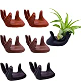6 Pack Ceramic Air Plant Stand Holder, Hand Shape Tillandsia Airplant Container Pot Tabletop Plant Display Hand Racks for Home Office Decoration Supplies(2 Red + 2 Brown + 2 Black)