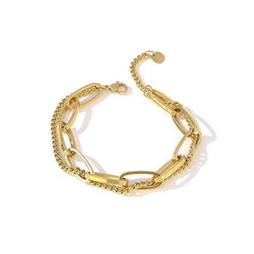 yqs Pulsera de moda cadena de eslabones de acero inoxidable brazalete mujeres exquisita joyería niña playa regalo