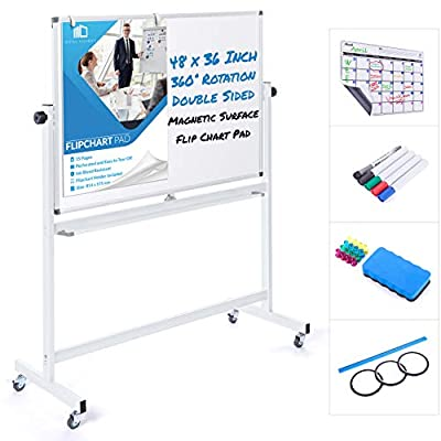 Mobile Whiteboard 48 x 36 Inch Double Sided Magnetic Dry Erase Board Large Rolling Stand Portable Easel Frame On Wheels Office Home Classroom 5 Markers, Calendar, Flip Chart, Eraser, 16 Magnets, Ruler