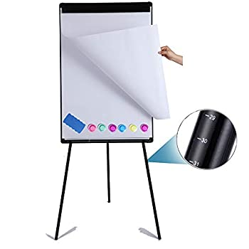 DexBoard Dry Erase Easel 24  x 36 |Height Adjustable Magnetic White Board Easel with Tripod Stand|Office Presentation Board w/Flipchart Pad Magnets & Eraser Black