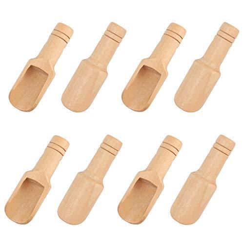 8pcs Mini cuillère en Bois, 7.5cm Petite Cuillère à Sel, Bain Cuillère en Bois, Mini Pelle en Bois, Cuillère Pelles à épices, Pelle en Sel de Bain pour la Cuisine, Lait, Café, Thé, Bonbons