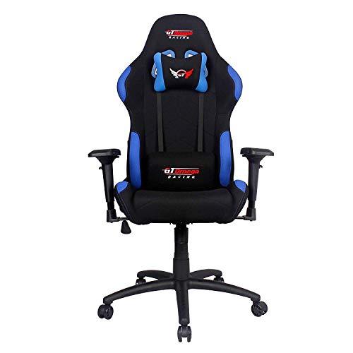 GT Omega Pro Racing - Silla de oficina, color negro con tela azul