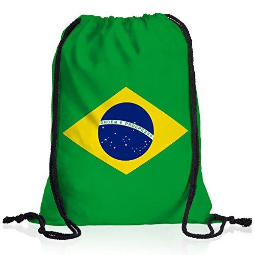 style3 Brasilien Turnbeutel Rucksack Tasche Brazil Flagge WM EM Sport Beutel Festival Fahne Uni Schule Bunt