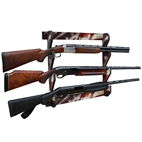 Rush Creek Creations Indoor 3 Rifle/Shotgun Wall Storage Display Rack Americana Finish - Convenient Easy Assembly (38-4043)
