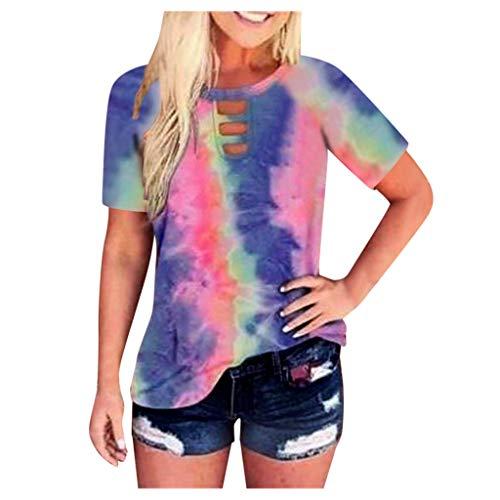 Xniral Damen Kurzarm Loose Fit Lässige Tie Dye Bluse Tunika Shirt Große Größe Pullover mit V-Ausschnitt Hollown Tops(Mehrfarbig,S)