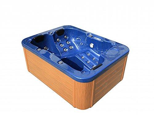 Supply24 Outdoor Whirlpool Hot Tub Lyon Spa Farbe BLAU mit 27 Massage Düsen + Heizung + Ozon Reinigung + LED Beleuchtung für 2-3 Personen für Außen Terrasse Garten günstig