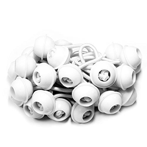 TOOLPORT 25 Stück Set Gummischlaufen Spanngummis zum Befestigen von Planen - Zeltgummis Expanderschlingen Bungees Spanner Planenspanner für Partyzelt Pavillon Zelt - weiß, kurz