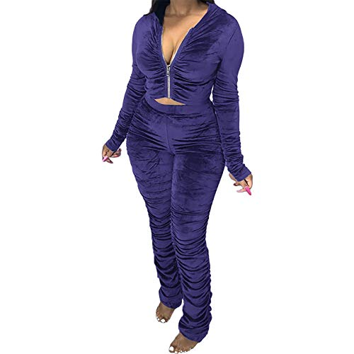 Womens Two Piece Velour Bodycon Outfits Plus Size Full Zip Hooded Jacket Matching Pants Tracksuit Workout Sets S Lavender