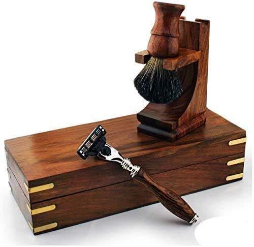 Premium aus Holz Rasierset für Herren Featuring Triple Edge Luxus Rasierer & Reines Schwarz Dachshaar Pinsel mit Ständer & Box