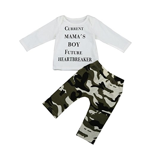 Hirolan Neugeboren Baby Jungen Outfits Kleider Brief T-Shirt Tops + Tarnung Hose Set (90cm, Weiß)