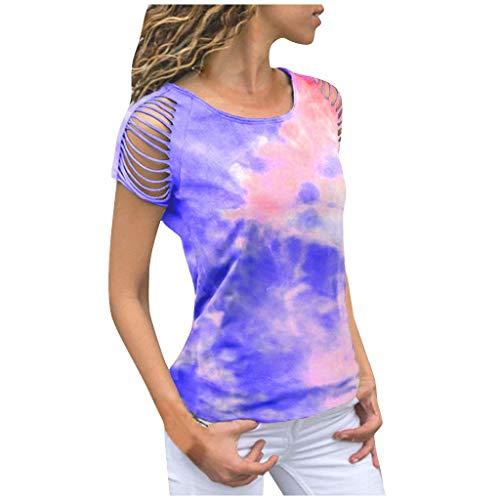 MRULIC Damen Kurzarm T-Shirt Rundhals Ausschnitt Lose Hemd Pullover Sweatshirt Oberteil Tops (EU-40/CN-L, Blau)