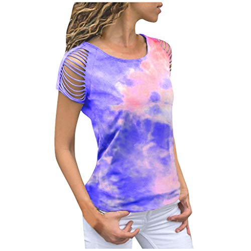 855 Women's Fashion T-Shirt Colorful Tie-dye Print Hollow Out Short Sleeve Tunics Summer Casual Comfort Tops Blouses Blue