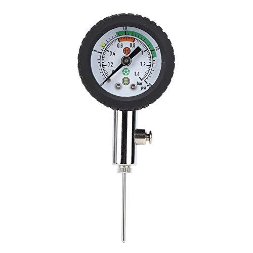 Medidor de presión de Bola, fútbol portátil Baloncesto Voleibol Balón de fútbol Puntero Indicador de presión Tabla de medición de presión Interna Medidor de presión de Gas de Metal Profesional