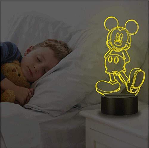 Mickey Mouse 3D LED Lámpara de ilusión de luz nocturna Lámpara de ilusión con control remoto 16 colores que cambian de Navidad Halloween regalo de cumpleaños para niño niña