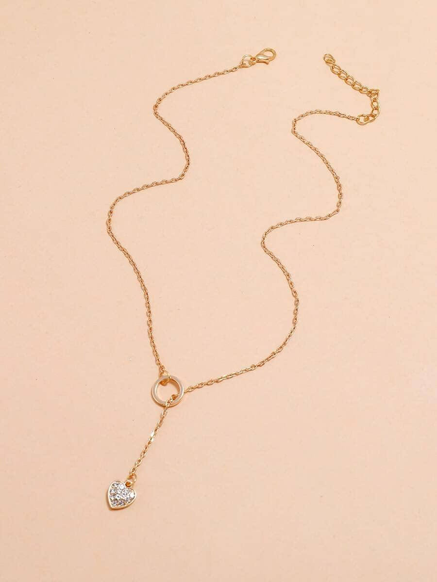 Necklace Pendant Rhinestone Heart Charm Y Lariat Necklace (Color : Gold)