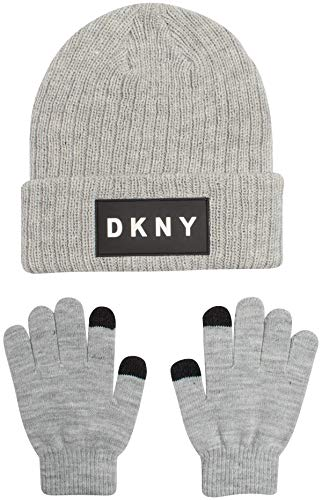DKNY Boys Winter Beanie Hat and Gloves Set, Heather Grey, Size onesize