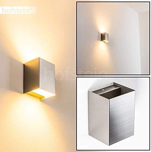 LED-wandlamp Zabrat, wandlamp van metaal in mat nikkel, wandspot 1-vlam, 1 x 5 Watt, 450 Lumen, 3000 Kelvin (warm wit), binnenwerklamp met op en neergaande werking