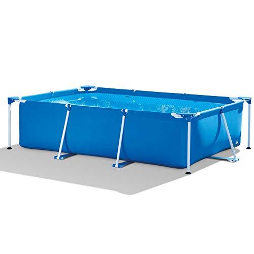 LZTET Rectangular Metal Frame Swimming Pool Swim Center Family Garden Outdoor Thicken Oversized Paddling Pools for Adults Kids Crystal Blue (220X150X60CM)