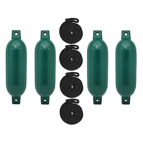"""Extreme Max 3006.7507 BoatTector Fender Value 4-Pack - 6.5' x 22"""", Forest Green"""