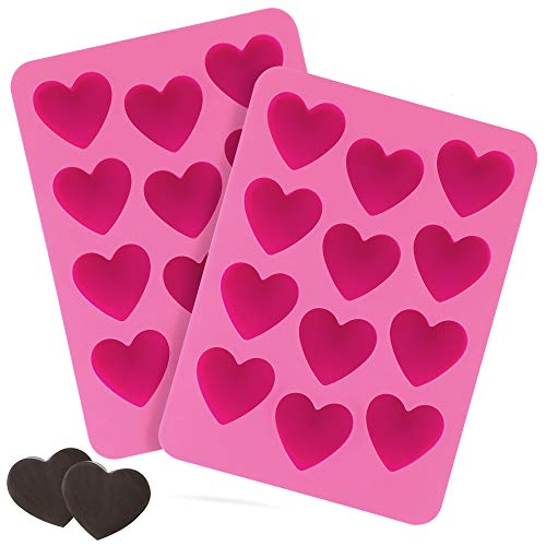 Kami Sweets Heart Shape Silicone Mold For Chocolate Candy Gummy Fudge Ice Valentine - Set of 2