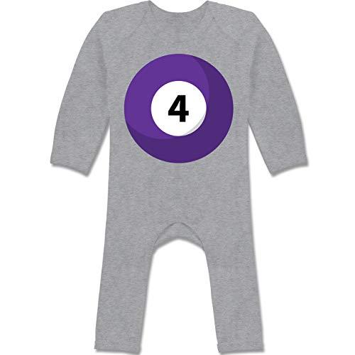 Shirtracer Karneval und Fasching Baby - Billardkugel 4 Kostüm - 6/12 Monate - Grau meliert - Langarm - BZ13 - Baby-Body Langarm für Jungen und Mädchen
