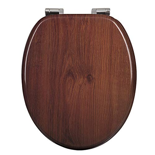 WOLTU Copriwater in Legno MDF Chiusura Ammotizzata Soft Close Coperchio WC Sedile WC Tavoletta Copri WC Universale a forma di O per Bagno, Antibatterico, Cerniere Regolabili