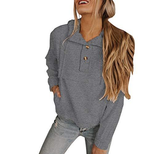 Frashing-Damen Sweatshirts mit Knopf Langarmshirt Pullover Kapuzenpullover Herbst Winter Hoodie mit Tunnelzug Loose Strickpullover Kapuzenpulli Lässige Rundhals Sweatshirt