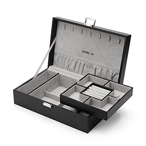zunruishop Joyero con Tapa de Vidrio Organizador de Caja de joyería de Cuero PU con 2 Estuches de Relojes de Relojes de la Bandeja extraíble Caja de Almacenamiento Joyero de Madera (Color : B)