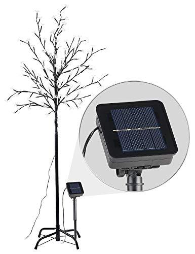 Lunartec Solarbaum Garten: Solar-LED-Lichterbaum mit 120 leuchtenden Blüten und Standfuß, 150 cm (Leuchtender Baum)