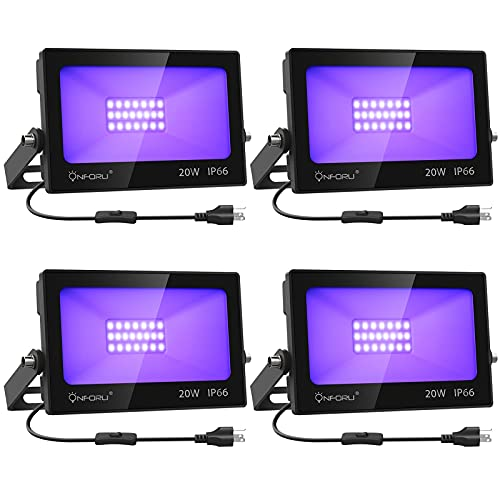 Onforu 4 Pack 20W LED Black Lights, Blacklight Flood Light with Plug and Switch, IP66 Waterproof, Blacklight for Dance Party, Glow in The Dark, Stage Lighting, Body Paint,Fluorescent Poster, Neon Glow