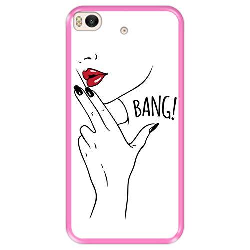 Hapdey Funda Rosa para [ Xiaomi Mi5s - Mi 5s ] diseño [ La Belleza Mata, Bang! ] Carcasa Silicona Flexible TPU