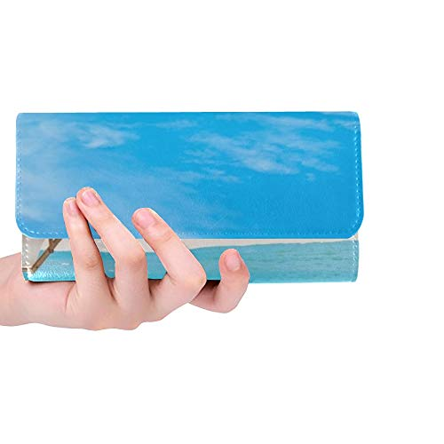 Unique Custom Beach Chair Umbrella Blue Sky On Women Trifold Wallet Long Purse Credit Card Holder Case Handbag