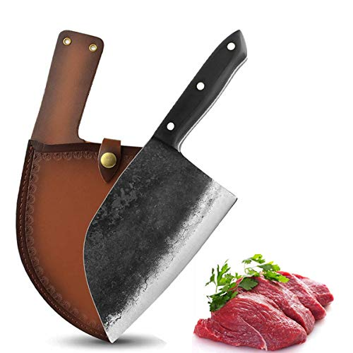 Professional Butcher Knife Handmade Forged Kitchen Chef Knife Full Tang High Carbon Clad Steel Butcher Cleaver with Leather Knife Sheath